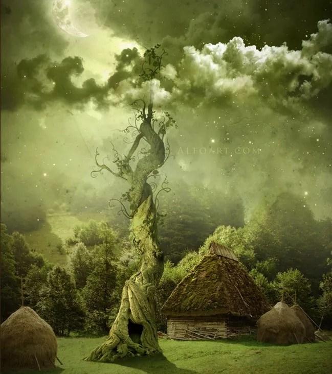 Fairy night. Beanstalk - 19 Photo Manipulation Tutorials for Photoshop #2