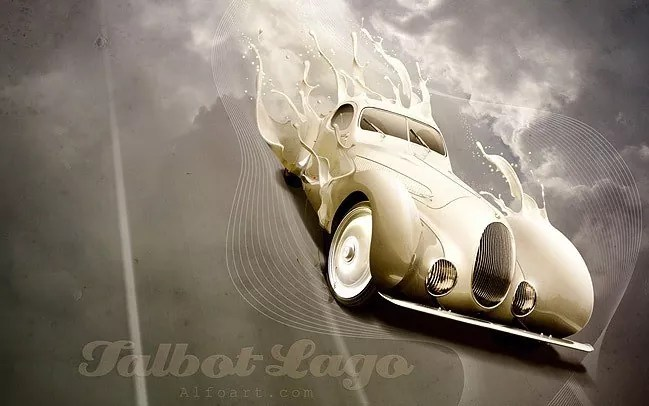Luxury retro car poster with paint splashing effect - 19 Photo Manipulation Tutorials for Photoshop #2