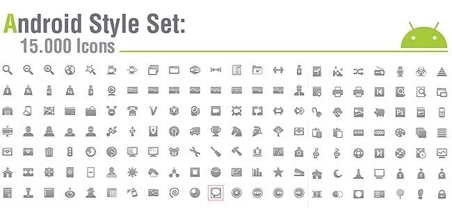 Android Style Set - 15.000 Android icons amazing freebie!! Several sizes, android guidelines, vector sources.