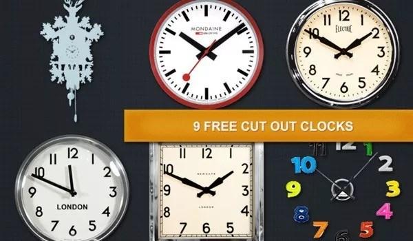 9 Free cut out wall clocks - 9 Free cut out wall clocks