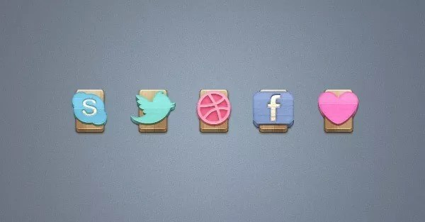 WoodSocialIcons - 140+ High-Quality Social and Glyph Icon Sets 2011