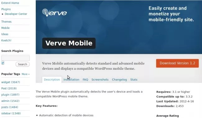 verve e1336036463698 - Plugin to add Mobile Friendly Features in Wordpress