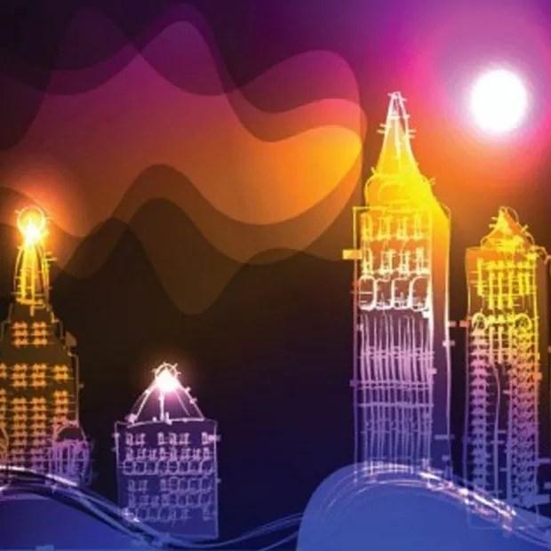 cityneoni large vectorgab - Brilliant City Neon Background Vector