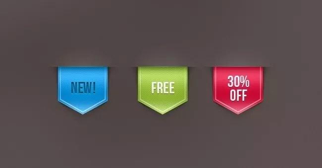 001 web ribbon sale label vol 1 - Free PSD Web Elements