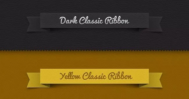 003 classic ribbon vintage leather psd - Free PSD Web Elements