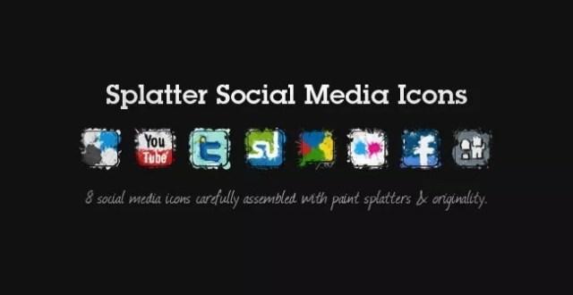splatter social icons11 - 18 Free Social Media Icon Packs