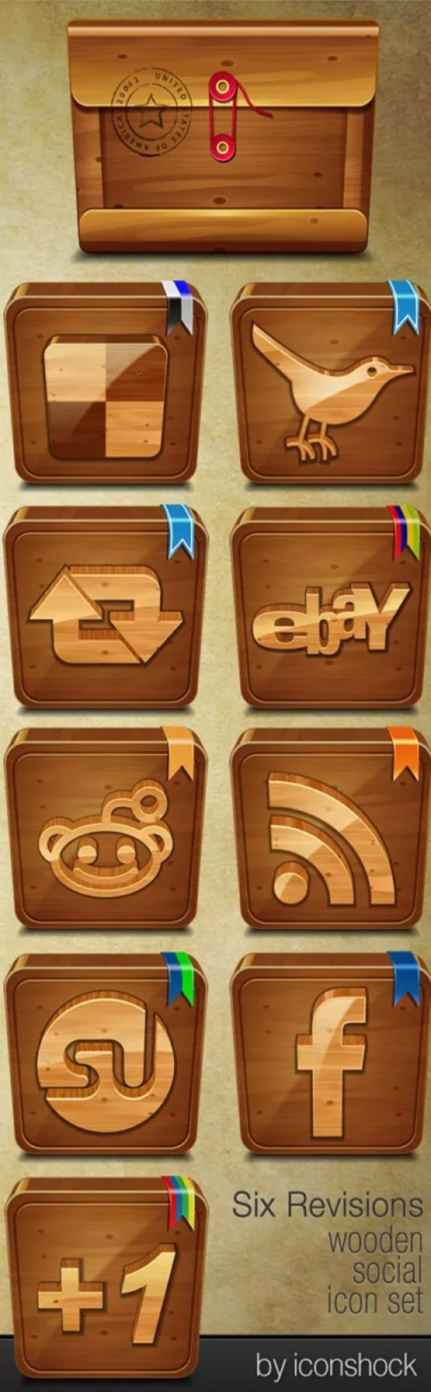 woodface large vectorgab - Wooden Social Media Awesome Vectors