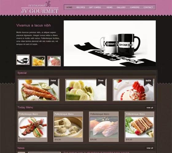 JV Gourmet - 20 Free Responsive Joomla Themes