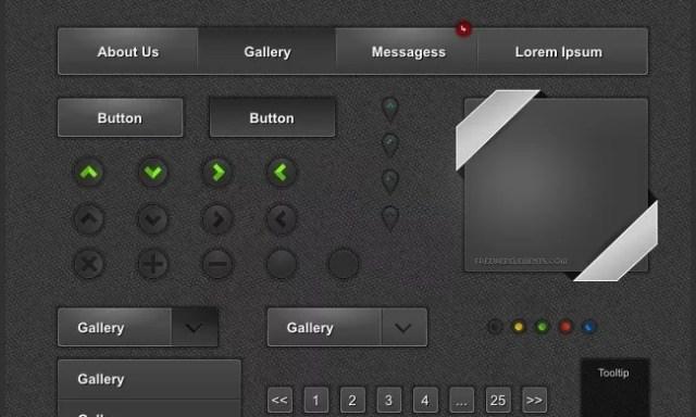 Dark Gray UI - PSD Free Web Elements