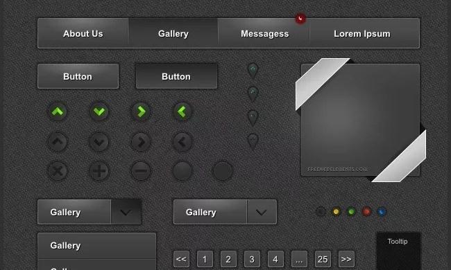Dark Gray UI - Free PSD Web Elements