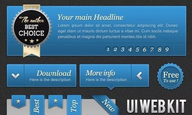 UI Blue web kit - Free PSD Web Elements
