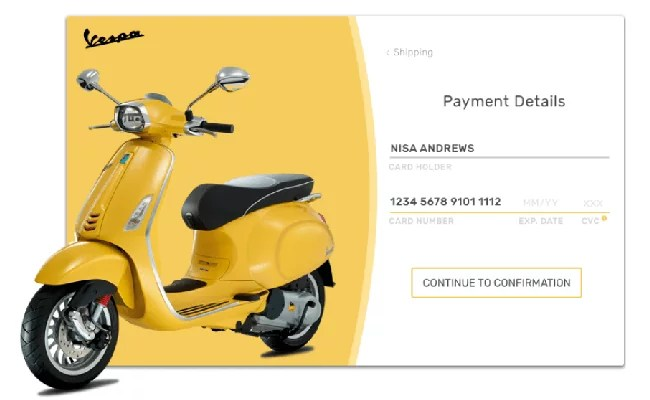 vespa credit card checkout - 30 Amazing Payment Form Designs for Your Inspiration