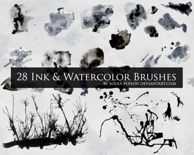 28 Ink and Watercolor Brushes - Free Ink and Watercolor Brushes for Photoshop