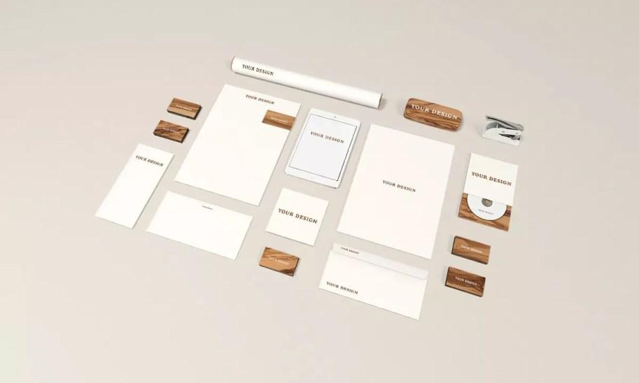 Stationery MockUp Wood Edition - 60+ Branding, Identity & Stationery Free PSD Mockups