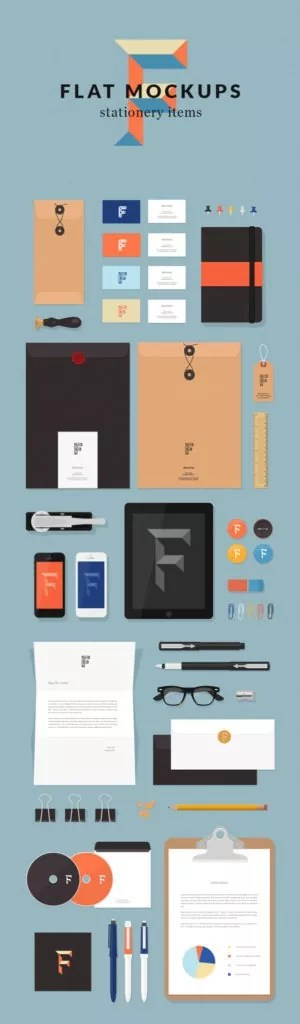 flat mockups stationery items 300x1024 1 300x1024 - 60+ Branding, Identity & Stationery Free PSD Mockups