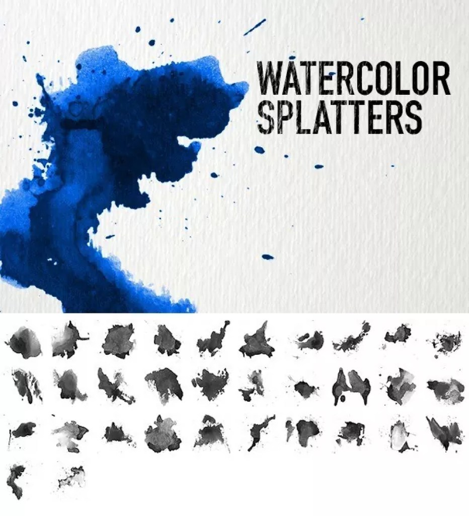 Watercolor Splatters - Free Ink and Watercolor Brushes for Photoshop