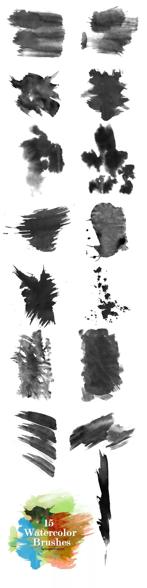 watercolor brushes preview - Free Ink and Watercolor Brushes for Photoshop