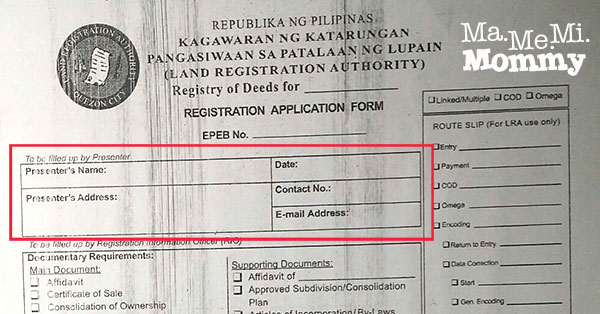Registry of Deeds Form