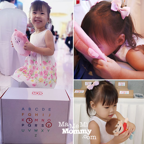 Baby K enjoying some of the toys included in the Learning Time Subscription Box