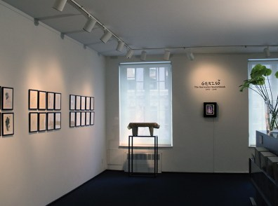 Installation shot of Gunther Gerzso's Surrealist Sketchbook displayed at the gallery