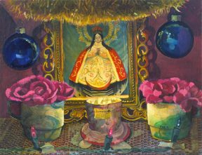 Painting of an altar with blue Christmas bulbs and pink flowers