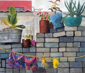 Painting of a clothesline in front of a grey brick wall topped with flowerpots