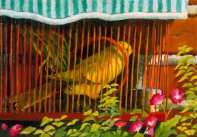 Painting of a yellow canary in a red cage set in foliage