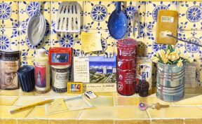 Painting of kitchen utensils, candles, and flowers in a tin pot on a pale yellow tiled shelf