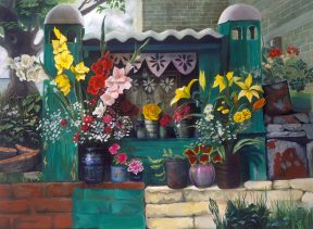 Painting of brightly colored flowers in pots on a green altar