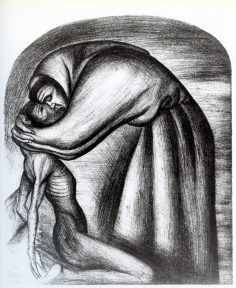 "A print of a Catholice friar embracing an emaciated ""Indian"""