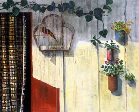 Painting of a birdcage tin flower pots handing on a pale yellow wall