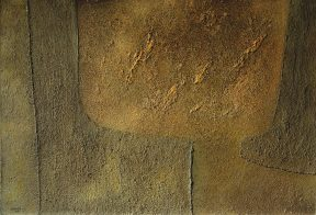Textural, abstract painting in brown tones