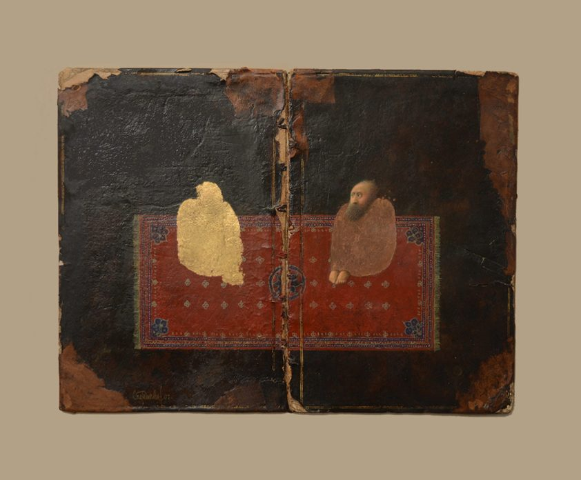 A painting on a book cover of two figures seated on a red carpet, facing each other