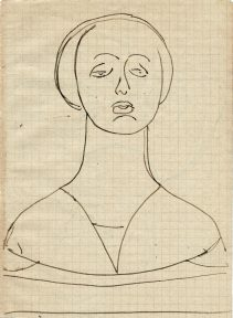 A sketch of a woman wearing a headdress found in Italian Renassance paintings.