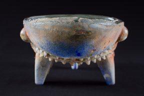 Alternate view of a glass sculpture of a shark