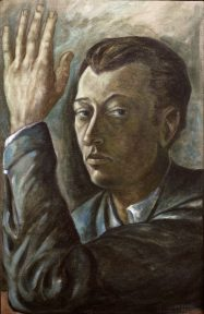 A portrait in grey and blue tones of a man's head and shoulders with his arm raised