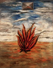 A painting showing a bright red campfire on an orange ground, against a blue sky with clouds