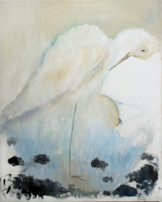 A painting in soft hues of a white stork standing on a blue ground