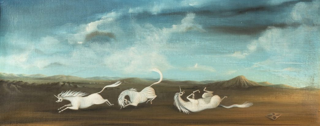 A painting of three white unicorns frolicking and rolling on the ground. Above them is a bright blue sky with wispy clouds.