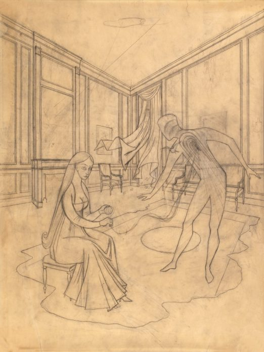 A surrealist pencil drawing of a woman seated in a large ornate room. She holds a ball of yarn which connects to an outline of a man, whose chest reveals a series of arched doorways.