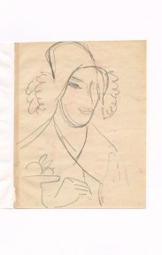 Pencil sketch of a woman wearing a cloche hat