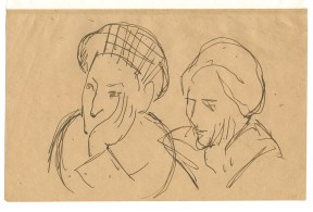 Pen sketch of two women resting their hands on their cheeks