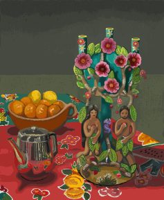 A candlestick with two figures on its base, placed next to a bowl of lemons.
