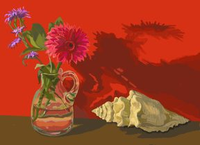 A glass pitcher with flowers and a yellow seashell in front of a bright red wall. The objects' shadows are cast on the wall.