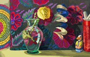 A glass vase and a toy duck in front of a brightly colored background.
