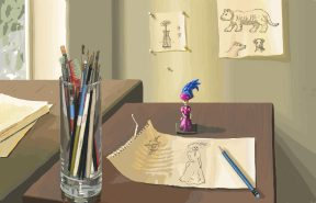 A desktop showing a drawing and a jar of pencils.