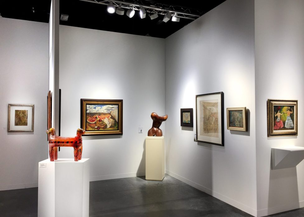 Installation shot of a gallery's booth at Art Basel Miami Beach 2018