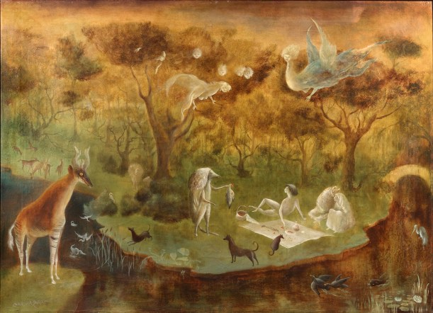 A painting in earth tones of a riverside picnic populated by animals and celestial beings