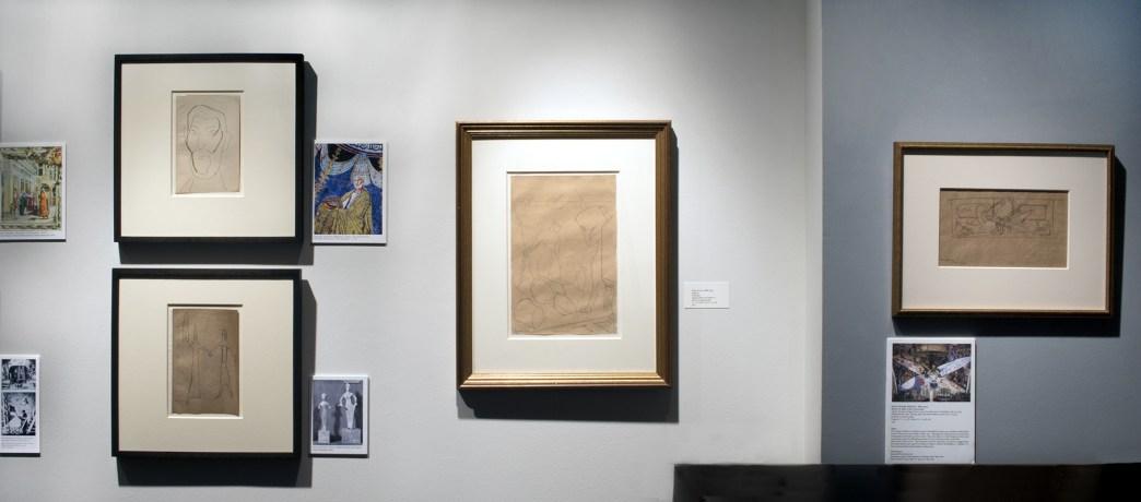 Installation shot of Diego Rivera sketches