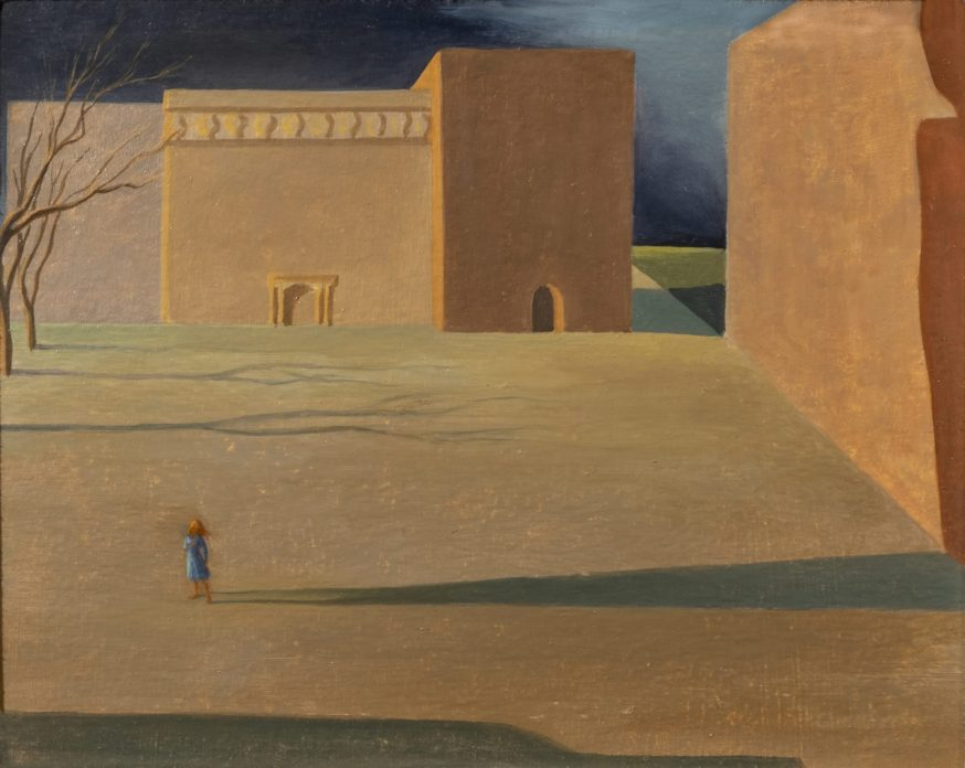 A painting of a small girl standing in an empty courtyard, her shadow stretches across the ground
